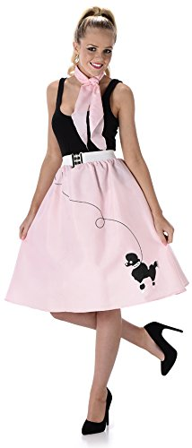 Baby Pink Poodle Skirt Ladies Fancy Dress 50s 60s Rock Roll Womens Costume New