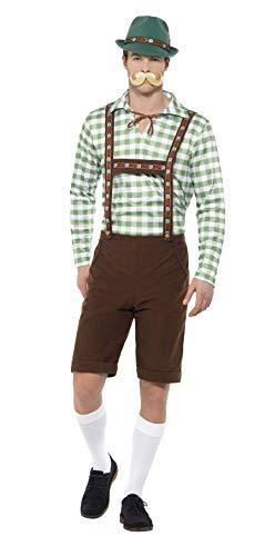 Smiffys costume bavarese alpino,verde e marrone,con camicia e lederhosen