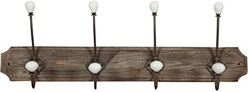 Biscottini attaccapanni da parete in legno massiccio e ferro forgiato a mano finitura legno anticato 65x10x21 cm