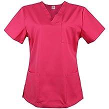 JONATHAN UNIFORM Camisas de Uniforme Médico Femenino con Cuello V para Mujeres Camisa de Hospital Suave