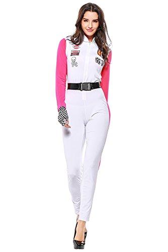 Rennanzug Jumpsuit Cosplay Kostüm Outfit Damen Rose Rot - Weiß