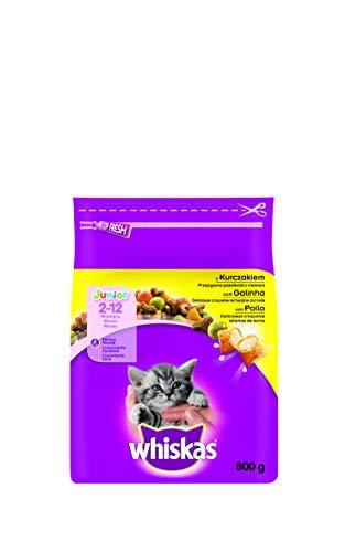 Whiskas, Cibo secco per gatti  junior con pollo, 800 g, Pacco da 5 [etichetta in lingua italiana non garantita]