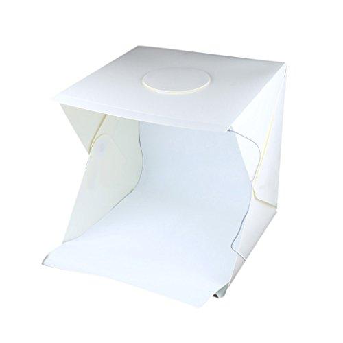 Baoblaze 40x40 cm Fotozelt Fotostudio Set mit LED Leuchte, Lichtwürfel Lichtzelt Fotozelt Fotobox mit 2 Hintergrund (Weiß und Schwarz)