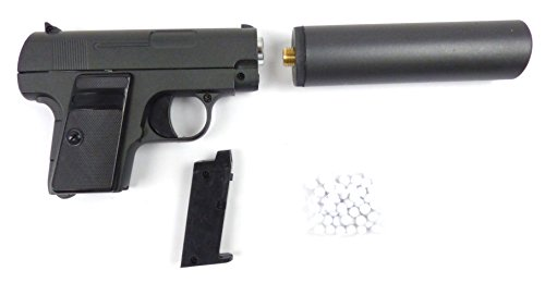 Metall Softair-Pistole mit Schalldämpfer und Munition Spielzeug-Waffe Metall-Gun Federdruck-Sports Weapon with Silencer and Bullets G1A