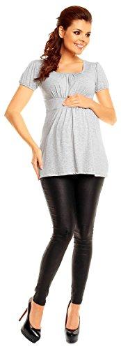 Zeta Ville - maternité shirt de grossesse top à taille froncée - femme - 408c Gris