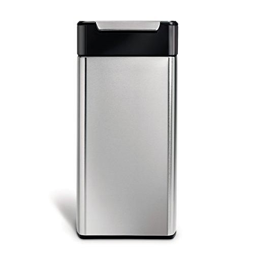 simplehuman 30 Liter, rechteckiger Touch-bar, Abfalleimer mit schwarzem Top, Edelstahl, 28.9 x 33.9 x 71 cm
