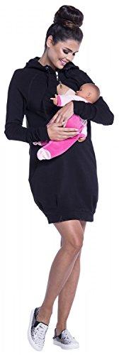 Zeta Ville - Maternité Robe sweat-shirt de grossesse allaitement - femme - 901c Noir