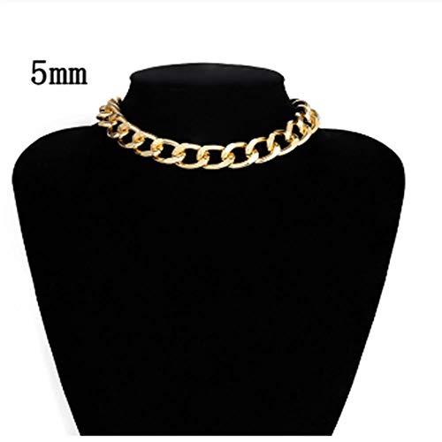 AWJQ Kurze Halskette Kragen Kragen Aluminium Gold Dicke Kette Halskette Weibliche Bar Party Schmuck Geschenk, C -