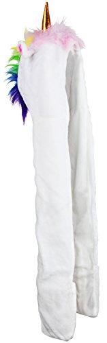 Einhorn Mütze mit Schal inkl. Handwärmer - Weiß Einheitsgröße - 3 in 1 Einhornkostüm zum Kuscheln und Verkleiden - Grinscard