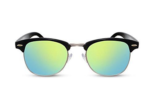 Cheapass Sonnenbrille Schwarz Gold Verspiegelt Retro Damen Herren