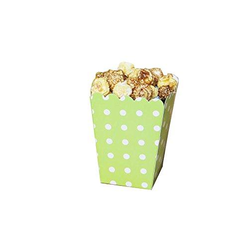 Black Temptation Popcorn Boxes Fries Cups Partyartikel - Grüner Wellenpunkt - 12PCS