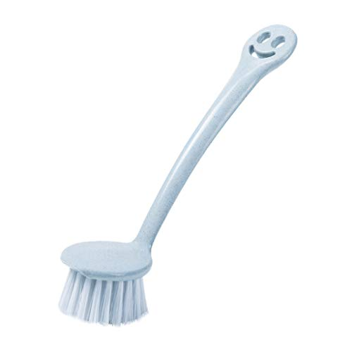 TianranRT Kreativ Weizen Stroh Kunststoff Reinigung Pinsel Lang Griff Waschen Spüle Topf Pinsel (Blau)