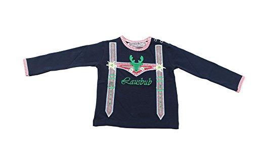 Anouk et Emile Trachten Langarmshirt Lausbub blau - Trachtenhemd für Kinder und Babys Gr. 68-104 (74, Blau)