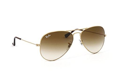 2014 RAY BAN Aviator Sonnenbrille - Geld/Brun [55/58/62mm] (Geld, 58mm)