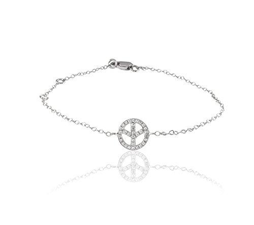 Or Blanc 9 ct Bracelet Diamant en forme de rond, 0.13 Ct Diamant, GH-SI, 1.27 grammes.