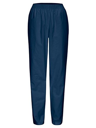 DESERMO® Schwesternhose Schlupfhose mit Gummibund aus reiner Baumwolle | Pflegerhose | bequeme Medi Hose - Gr. 42, Blau -