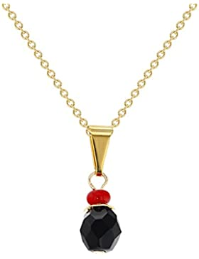 In Season Jewelry Mädchen - Anhänger Simulierte Azabache Böse Augenschutz 18k Vergoldet 48cm