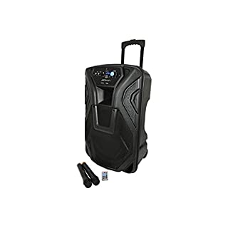 BUSKER-15 | Rechargeable Battery Powered Portable PA with 2 Wireless Microphones and Bluetooth Connectivity, 15-Inch