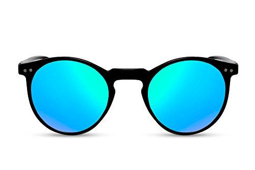 Cheapass Verspiegelte Sonnenbrille Rund-e Brille Schwarz Blau-Grün UV-400 Damen Herren