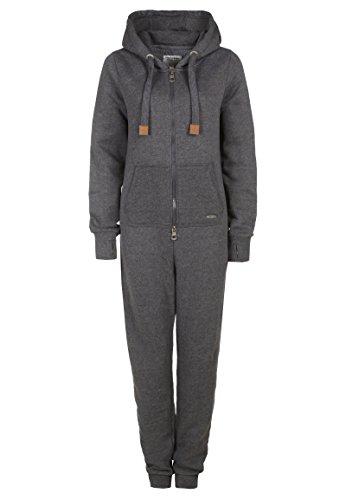 Eight2Nine Damen Sweat Overall | Kuscheliger Jumpsuit | Einteiler aus bequemen Sweat-Material einfarbig dark grey L