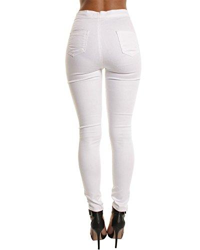 Damen Skinny Jeans Hose Weiß