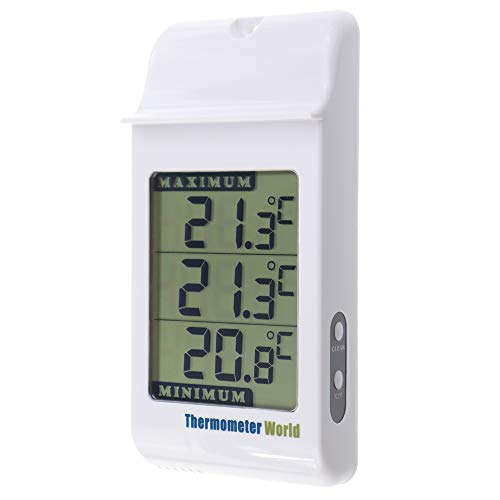 Digitales Thermometer für den Innen- und Außenbereich, groß, Weiß