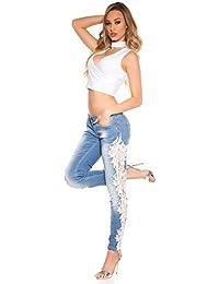 fashion boutik Jeans Jean Bleu Clair délavé avec Dentelle Blanche sur Les  cotés Femme Sexy Tendance e952ce9f036c