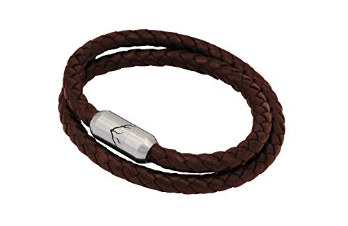 Bergseil Armband   Doppelseil Leder Braun Haselhuhn mit Magnetverschluss, Lederband und 360° Bergpanorama   Bergschmuck von FJELLA