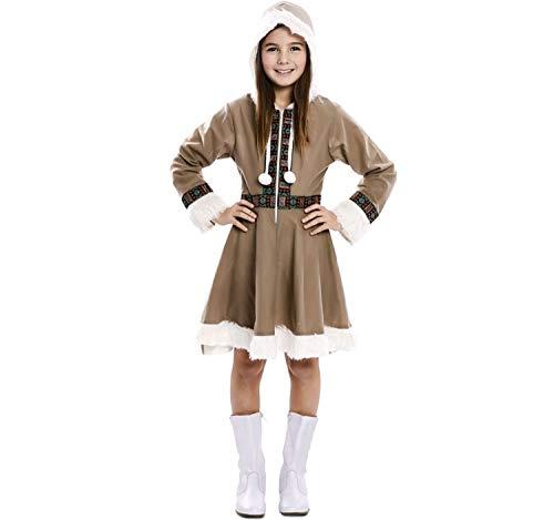 EUROCARNAVALES Kinder Kostüm Eskimo Mädchen Inuit Greta Kleid Fasching Karneval Polar (5-6 Jahre)