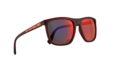 Emporio Armani EA4124 Sunglasses Matte Opal Red w/Dark Grey Mirror Blue Red Lens 57mm 57246P EA 4124