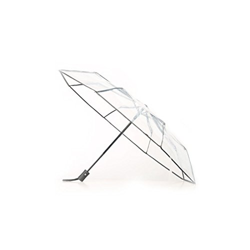 Levoberg Regenschirm Transparent Automatik Schwarz, Taschenschirm transparent Auf-zu-automatik 8 Rippen, stabil und faltbar für Damen & Mädchen