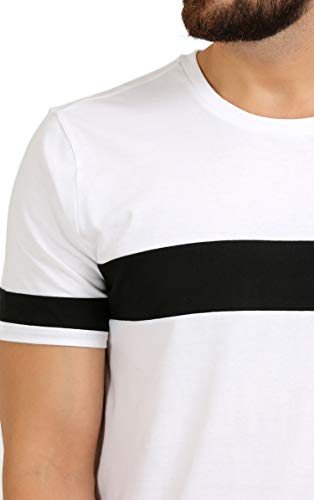 AELO Men's Cotton T Shirt-(Amt1072-Pn_White) (White and Black, Large)