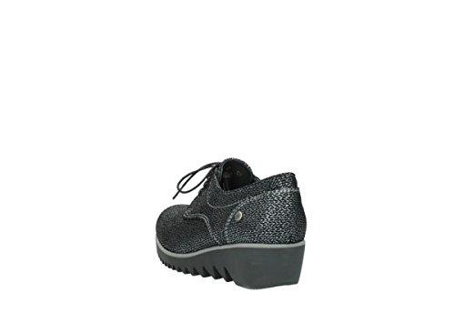 Wolky Comfort Schnürschuhe Dusky Winter 40000 schwarz gedruckt Veloursleder
