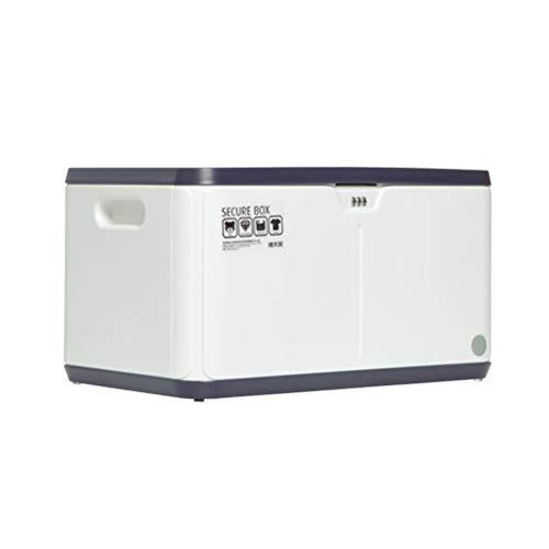 SUA_ONG Aufbewahrungsbehälter mit Deckel Große stapelbare Kunststoff-Aufbewahrungsboxen mit Deckel, Kennwort-Box-Datei Home Office Safe mit Kennwortsperre (27L) (Farbe : Schwarz) (Datei-boxen Mit Deckel)