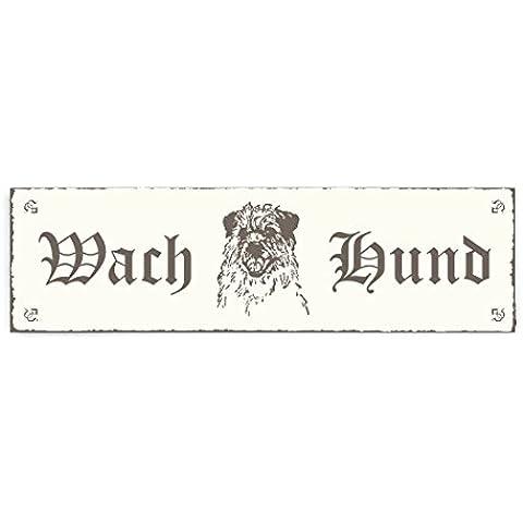Targhetta decorativa « Cane da guardia–Border Terrier » Shabby Vintage targa in legno Targa fuori porta decorazione Warnschild pittogramma