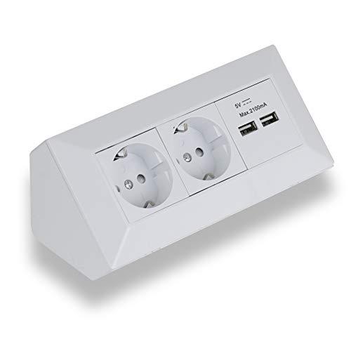 Eck-Steckdose Aufbaumontage 2x Schuko, 2x USB für Küche, Büro, Werkstatt. Steckdosenleiste ideal für Küchen-Arbeitsplatte, Aufbausteckdose oder Unterbausteckdose (2 Schuko, 2 USB weiß)