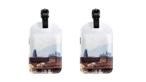 Gebäude 038 Kofferanhänger Koffer Leder Gepäckanhänger 2 Stück Namensschild Adresse Tag Flugzeug Gepäckanhänger Visitenkartenhalter Kartenpaket 7x11.4cm