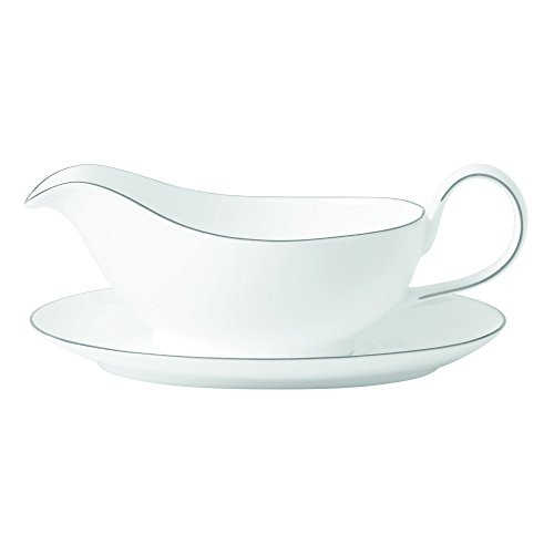 Royal Doulton Signature Platinum Gravy Boat & Stand, White by Royal Doulton (Boat White Gravy)