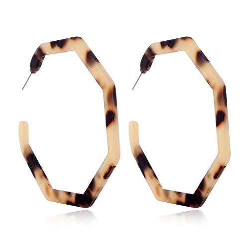 Ludzzi orecchini a cerchio donne leopardo rotondo acrilico marmorizzato irregolare tartaruga Shell Jewelry leggero migliore decorazione regalo, colore: 2, cod. Nankod