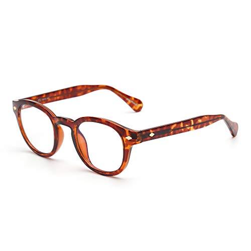JIM HALO Retro Runden Blaues Licht Blockieren Brillen Für Damen Computer Spiel Gläser Augenbelastung reduzieren(Schildkröte Rahmen/Blaues Licht blockieren Linse)