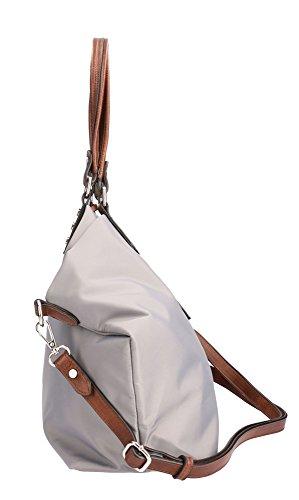 Große Shoppertasche von Waipuna aus hochwertigem Nylon, Schultertasche mit Schlüsselanhänger, Handtasche mit schönen, braunen PU-Leder Details, camel grey / grau