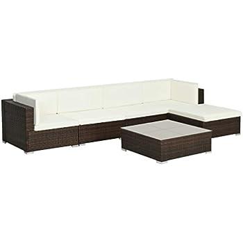 SOULONG Set Divani da Giardino Divano e Tavolino con Cuscini Giardino per Esterno Set 6 Pezzi Mobili da Giardino in Polyrattan