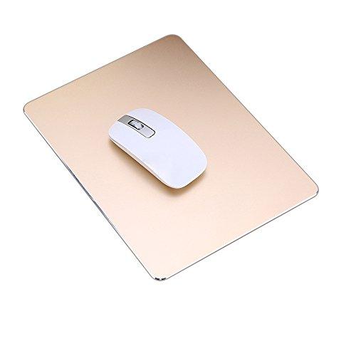 ProElife Premium-Aluminium-Metall-Mauspad/-Matte für Apple, Magic Mouse, Microsoft, Logitech, Tecknet, Razer, Metal Mouse Pad-Rectangle-Gold Colour, Mouse Pad -