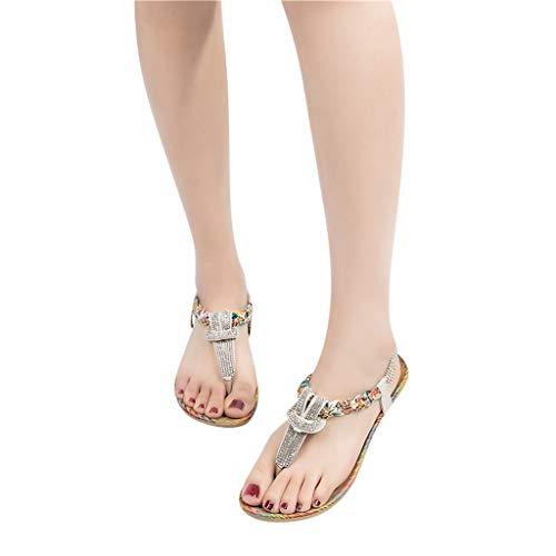 Deloito Damen Mädchen Mode Pantoletten Sandalen Strass Nähen Roma Clip Toe Slipper Freizeit Sandaletten Strand Schuhe Schlappen (Weiß,37 EU)