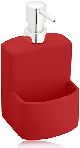 Wenko Dispensador de Detergente 0.38 L, Cerámica Soft-Touch, Rojo, 10x10x18 cm