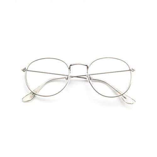 REALIKE Unisex Brille Elegant Flacher Spiegel Runder Gold Rahmen Brillengestell Brille Anti-Blaulichtbrille, Retro-Brillengestell Aus, (Farbe : Weiß, Schwarz, Grau, Braun, Gold)