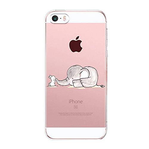 Caler iPhone SE/5S/5 Hülle Weiche Flexible Silikon-Handy-Hülle Transparente Ultra Slim TPU dünne stoßfeste mit Motiv Rundum-Schutz Tasche Etui Schutzhülle Case Cover (Elefanten) Iphone 5 Tier
