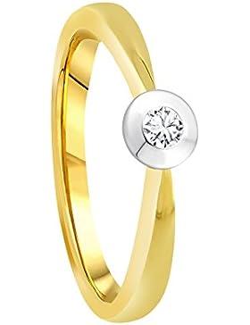 Diamond Line Damen - Ring 585er Gold 1 Diamant ca. 0,05 ct., gelbgold