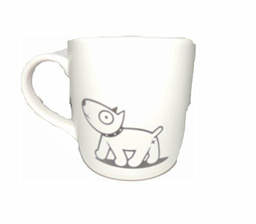 MUG, tasse céramique blanche 10cm HUMORISTIQUE motif: gamin marche crotte de chien