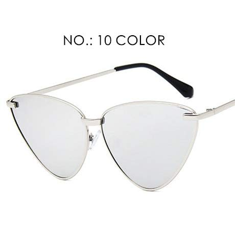 NSYJDSP Mode Frauen Farbe Flat Top Cat Eye Sonnenbrille Elegante Männer Twin Beam übergroße Sonnenbrille UV400 NO.10
